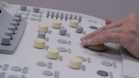 Keyboard Ultrasonography medical equipment, the doctor presses the button. Full HD stock video