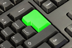 Keyboard with vivid  green button Royalty Free Stock Photography