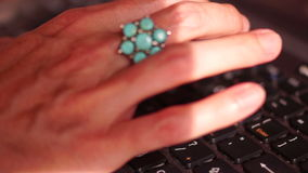 Keyboard, Woman Hands, Massive Ring with Turquoise stock video