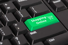 Keyboard with the word Shopping online on green button. Royalty Free Stock Photography