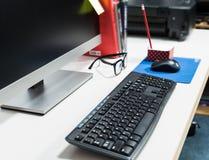 Keyboard at working desk Royalty Free Stock Photos