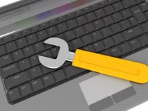 Keyboard with wrench Stock Photography