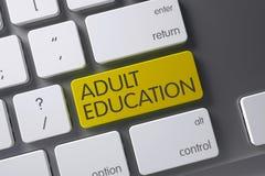 Keyboard with Yellow Key - Adult Education. 3D Illustration. stock illustration