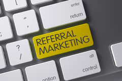 Keyboard with Yellow Keypad - Referral Marketing. 3D. Referral Marketing Concept Laptop Keyboard with Referral Marketing on Yellow Enter Key Background stock photos