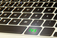 Keyboard with a yes button Stock Images