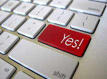 Keyboard Yes button key. Red Yes button on apple keyboard stock photos