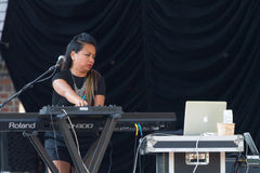 Keyboardist for Iskwé Stock Photo