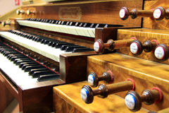 Keyboards of organ. Keyboards of church's organ in France Stock Photography
