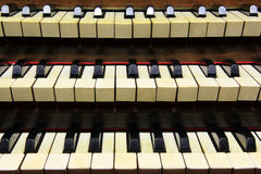 Keyboards of organ. Keyboards of church's organ in France Royalty Free Stock Images
