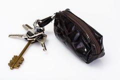 Keychain με την περίπτωση δέρματος Στοκ Φωτογραφία