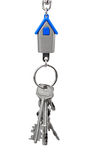 Keychain with figure of blue house Stock Photo