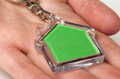 Keychain with figure of green house Royalty Free Stock Image