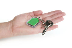 Keychain with figure of green house Royalty Free Stock Photo