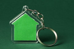 Keychain with figure of green house Stock Images