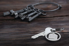 Keychain figure of house and key Royalty Free Stock Images