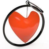 Keychain im roten Herzen, 3D Stockbilder