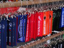 Keychain made from thick fabric. Motorcycle brain and logos on top of it. KUALA LUMPUR, MALAYSIA -MARCH 16, 2018: Keychain made from thick fabric. Popular royalty free stock images