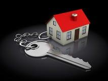 Keychain met huis Stock Foto
