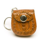Keychain from Nicaragua. Keychain leather change purse mini satchel souvenir made in Nicaragua Stock Photo