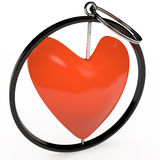 Keychain in red heart, 3D Stock Images