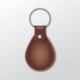 Keychain rotondo di cuoio in bianco con l'anello per la chiave Fotografia Stock Libera da Diritti