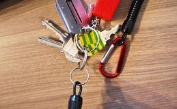 Keychain with various tools for men. stock photography