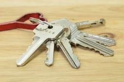 Keychain on wood background Stock Photos