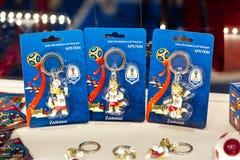 Keychains-Andenken mit Zabivaka-Wolf das offizielle Maskottchen von Fußball-Weltmeisterschaft 2018 stockfoto