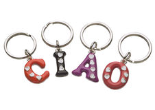 Keychains forming Ciao word Stock Photo