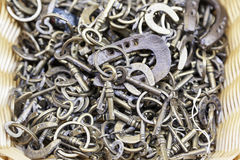 Keychains with horseshoes Stock Photos