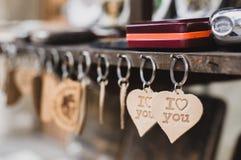 Keychains i houdt van u Stock Fotografie