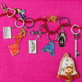 Keychains. Souvenirs keychains from different cities of the world Stock Photography