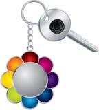 Keyholder de la flor con clave Fotos de archivo libres de regalías