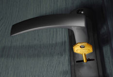 keyhole золотистого ключа Стоковая Фотография RF