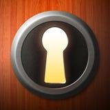 Keyhole. A keyhole illustration with wood background Stock Photos