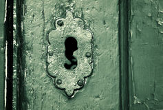 Keyhole. Close up photo of a antique keyhole Royalty Free Stock Photography