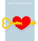 красный цвет поднял ключ сердца к Большой сложный ключ раскрывает keyhole внутри Стоковое Фото