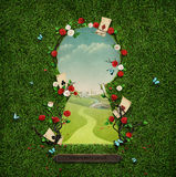 Keyhole. Beautiful green background with roses and cards in keyhole. Computer graphics Royalty Free Stock Image