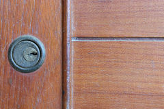 Keyhole on a cabinet. Royalty Free Stock Image