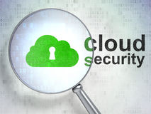 Keyhole and Cloud Security. Magnifying optical glass with Cloud With Keyhole icon and Cloud Security word on digital background, 3d render Royalty Free Stock Photos