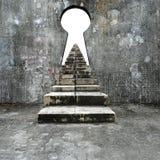Keyhole doodles стена с пакостным взглядом белизны пробела лестниц Стоковая Фотография
