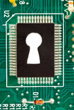 A keyhole is in an electronic microcircuit Royalty Free Stock Images
