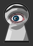 Keyhole with eye Stock Images