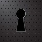 The keyhole on a gray background with perforation. Royalty Free Stock Photos