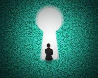 Keyhole on green big data background with businessman sitting vector illustration