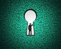 Keyhole on green big data background with businessman standing. Big data privacy and security information technology concept. Rear view of businessman standing vector illustration