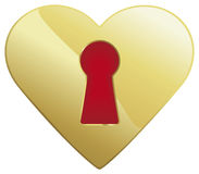 Keyhole heart. A heart shaped golden keyhole with red isolated on white Royalty Free Stock Image