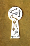 Keyhole and keys. Stock Images