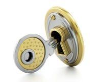 Keyhole on the lock isolated on white background. 3D illustration stock illustration