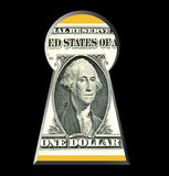 Key to money. Secrets of business, safety. The portrait of G. Washington on the 1 US dollar is looking or seen through keyhole. Isolated on black. Can be Royalty Free Stock Photography